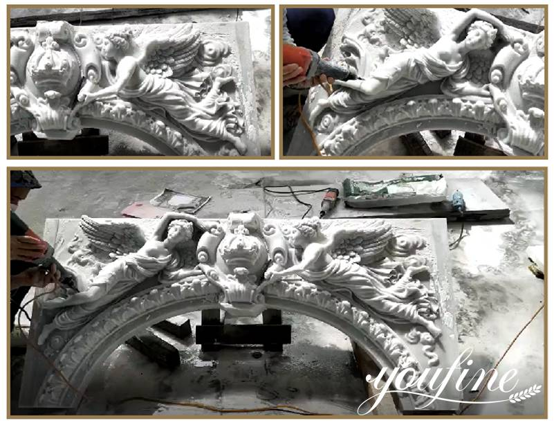 Process of White Marble Fireplace Mantel Home Decoration for Sale