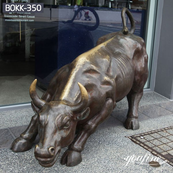 Restaurant Decoration Large Bronze Bull Statue for Sale BOKK-350