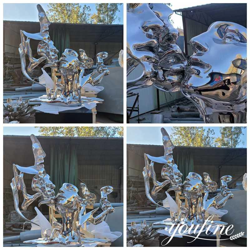 Unmask Group Metal Statue Modern Sculpture Art for Sale