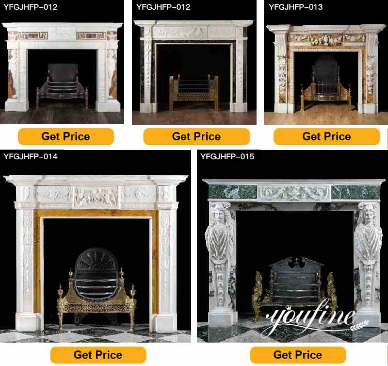 White Marble Fireplace Surround Indoor Decorations for Sale