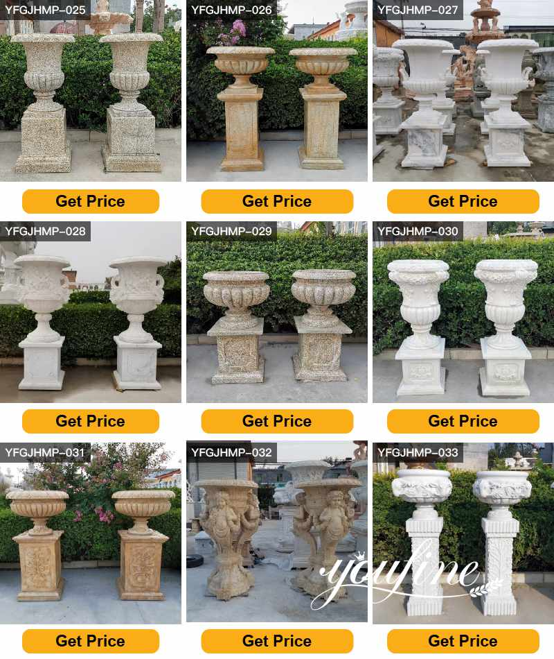 White Marble Flower Pots Outdoor Garden Park Decor