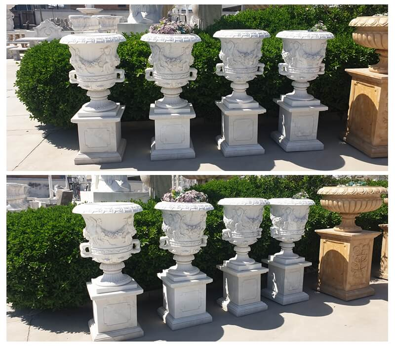White Marble Flower Pots Outdoor Garden Park Decor for Sale