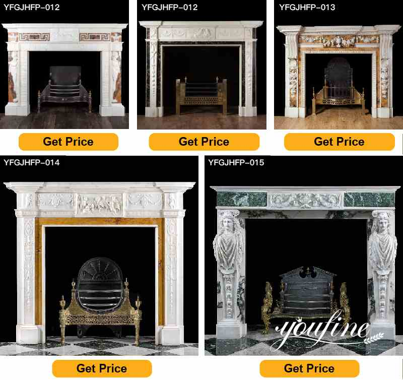 White Marble French Fireplace Mantel Surround for Sale