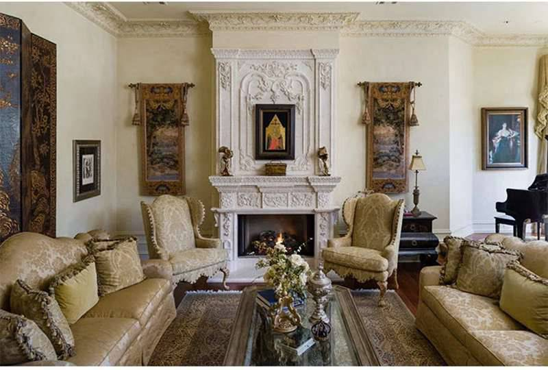 marble tile fireplace facing