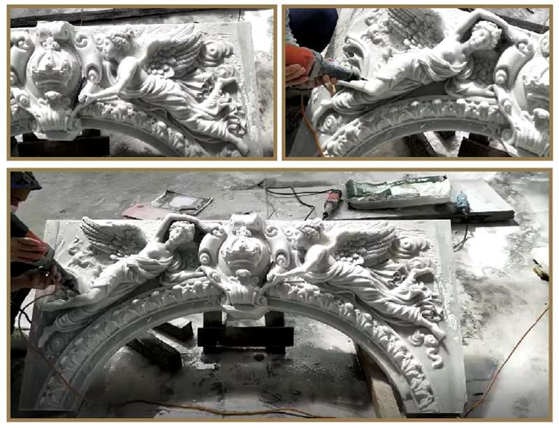 marble tile fireplace surround carving process