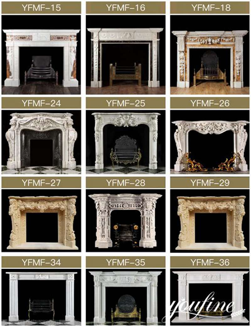 natural hand carved marble tile fireplace surround