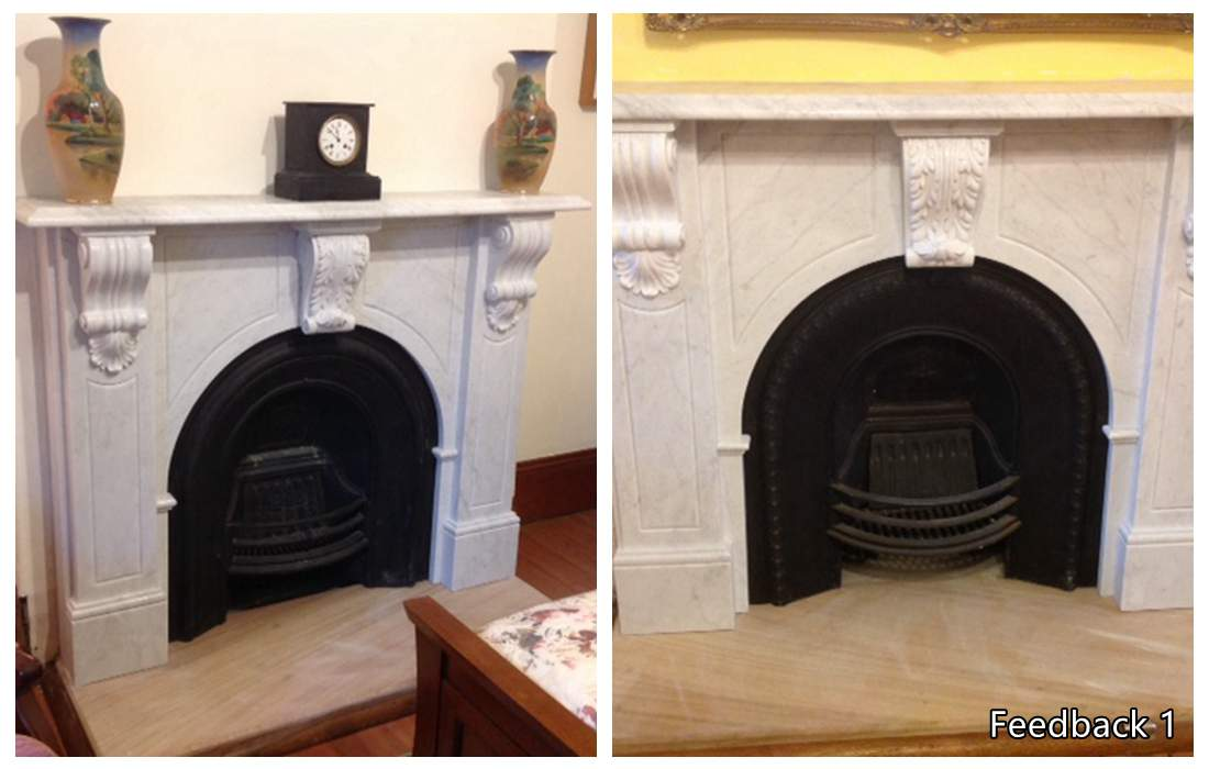white marble fireplace surround feedback
