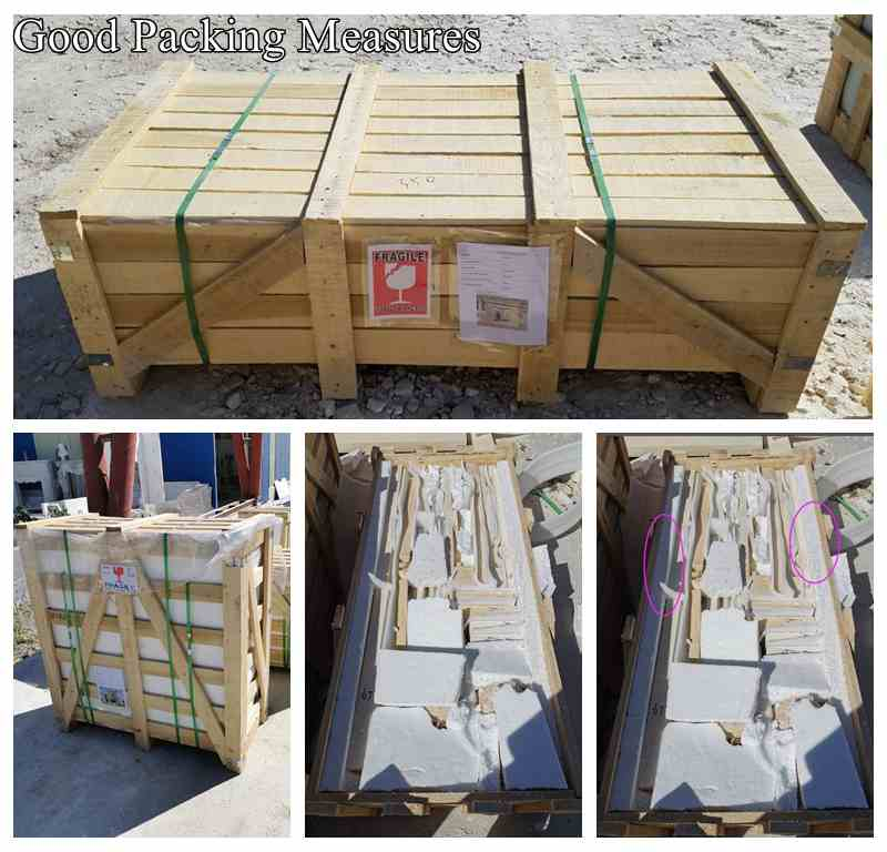 white marble fireplace surround packing