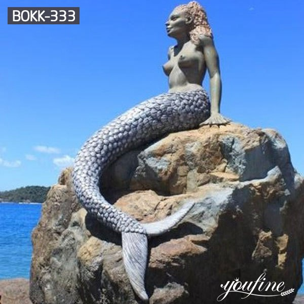 Beach Bronze Mermaid Statue Sitting on Rock for Sale BOKK-333