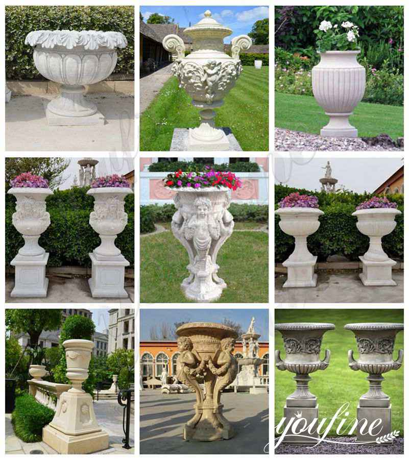 Beige Outdoor Garden Marble Planters for Villa Park Decor for Sale
