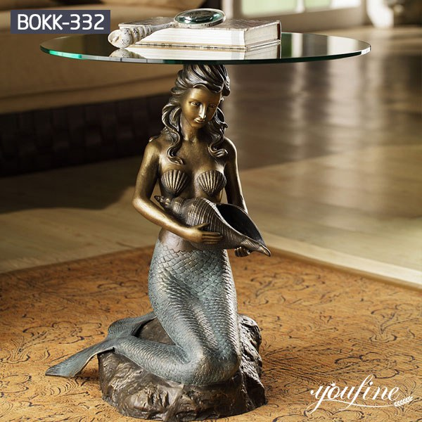 Home Decoration Bronze Mermaid Statue Coffee Table for Sale BOKK-332