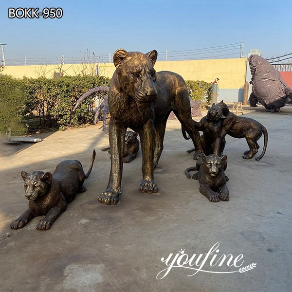 Outdoor Bronze Lion Family Statues for Zoo Garden Decor for Sale BOKK-950