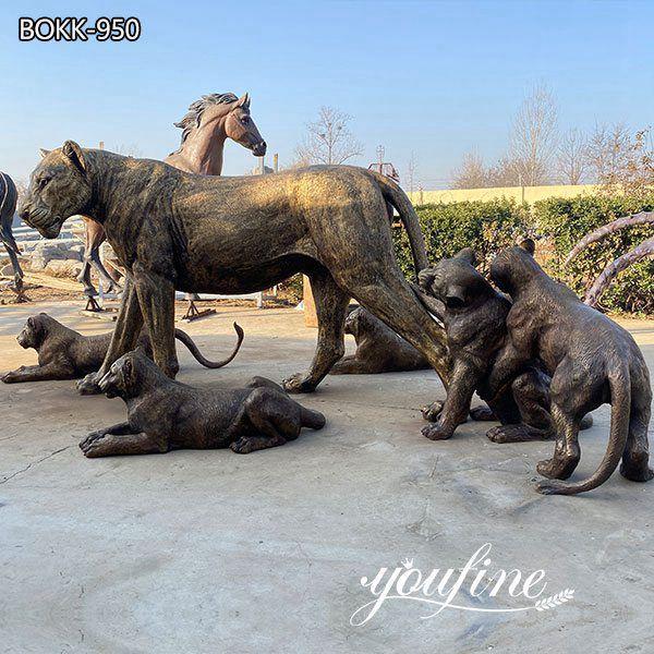Large Bronze Lion Family Statue Outdoor Zoo Garden Decor