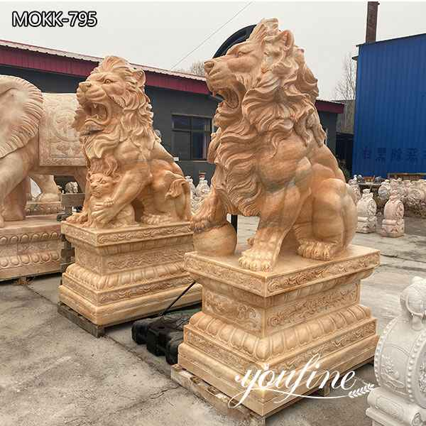 Large Natural Marble Guardian Lion Statue Outdoor Entrance Decor for Sale