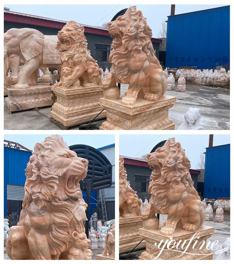 Large Natural Marble Guardian Lion Statue Outdoor Entrance Decor