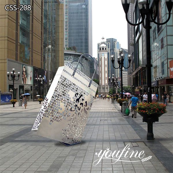 Outdoor Shopping Bag Metal Sculptures Modern Shopping Mall Decor for Sale BOKK-208