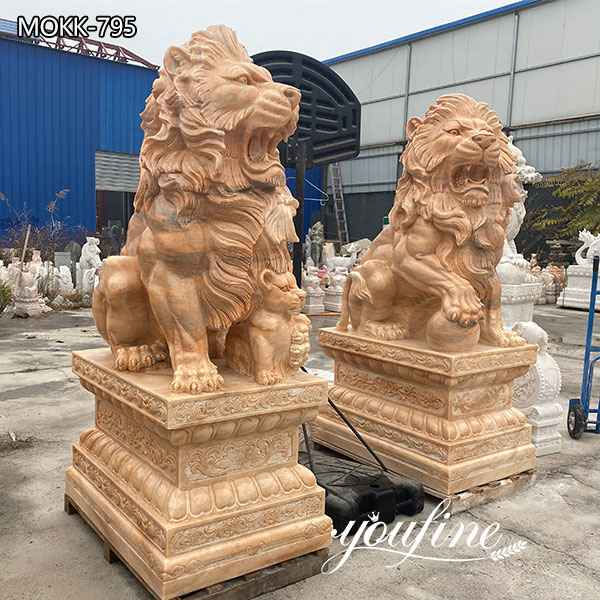 Large Natural Marble Guardian Lion Statue Outdoor Entrance Decor for Sale MOKK-795