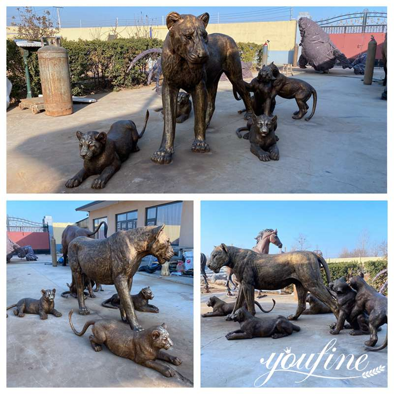 Outdoor Bronze Lion Family Statues for Zoo Garden