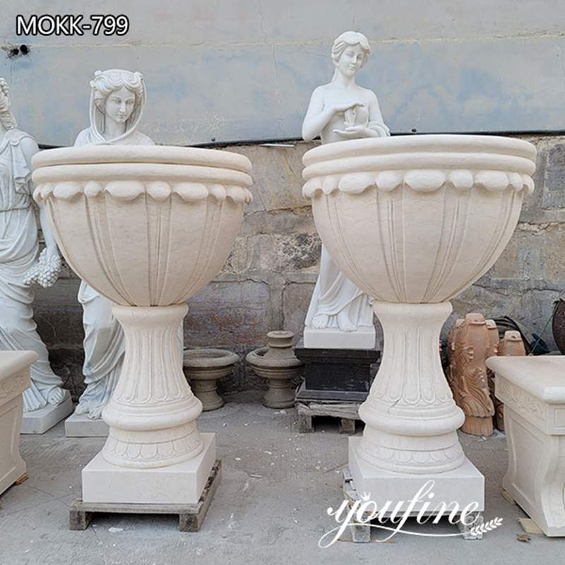 Beige Outdoor Garden Marble Planters for Villa Park Decor for Sale MOKK-799