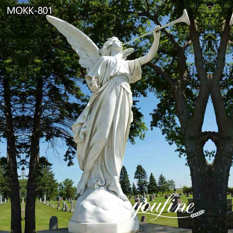 Outdoor Life Size Marble Angel and Trumpet Statue for Garden for Sale MOKK-801