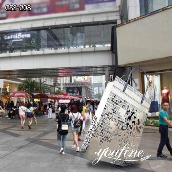 Shopping Bag Metal Sculptures Modern Shopping Mall Decor for Sale
