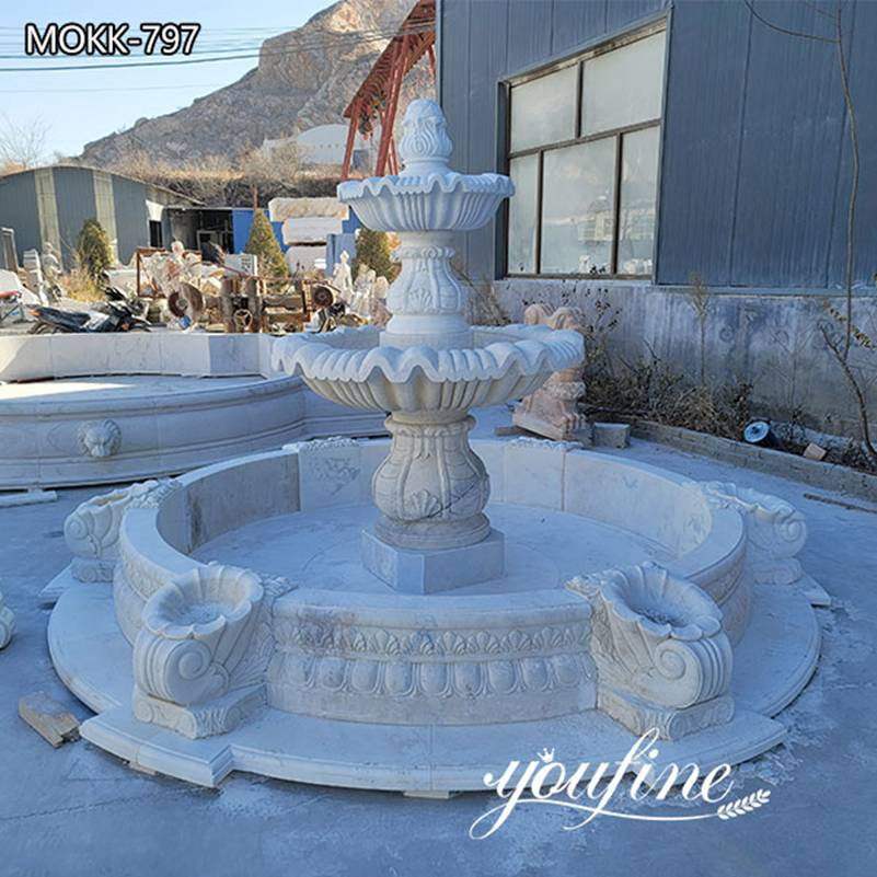 Two Tiered White Marble Outdoor Fountain Backyard Garden Decor for Sale