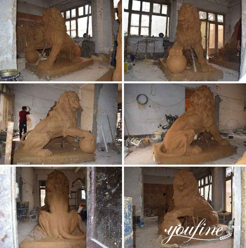 clay model bronze lion statues