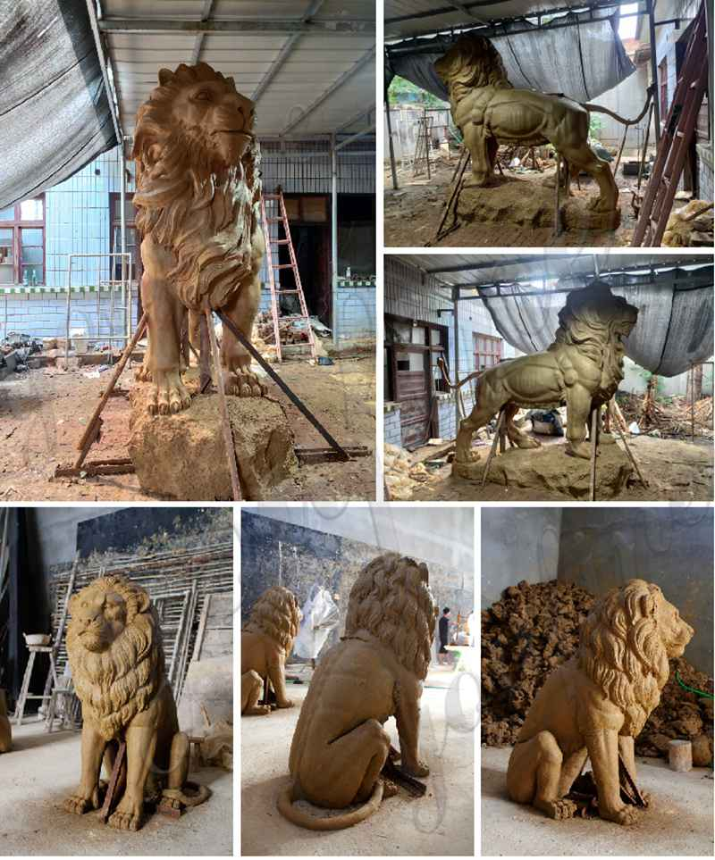 outdoor marble lion statue