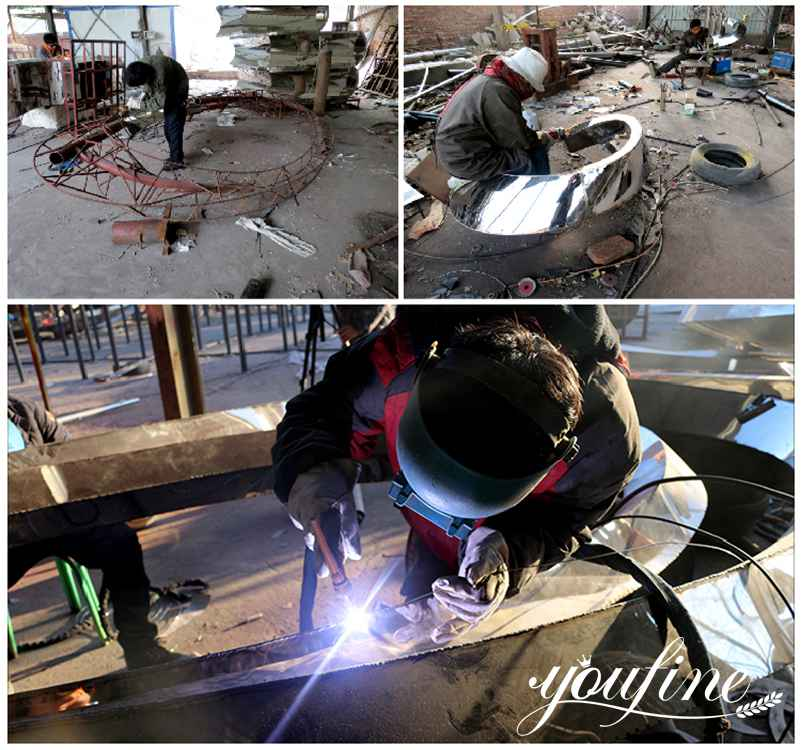 process of abstract outdoor metal sculpture