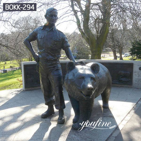 Life Size Bronze Bear and Figure Statue Zoo Decoration Supplier BOKK-294