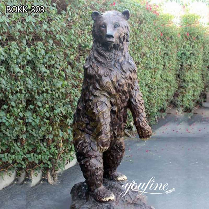 Outdoor Large Standing Bronze Grizzly Bear Statue BOKK-303