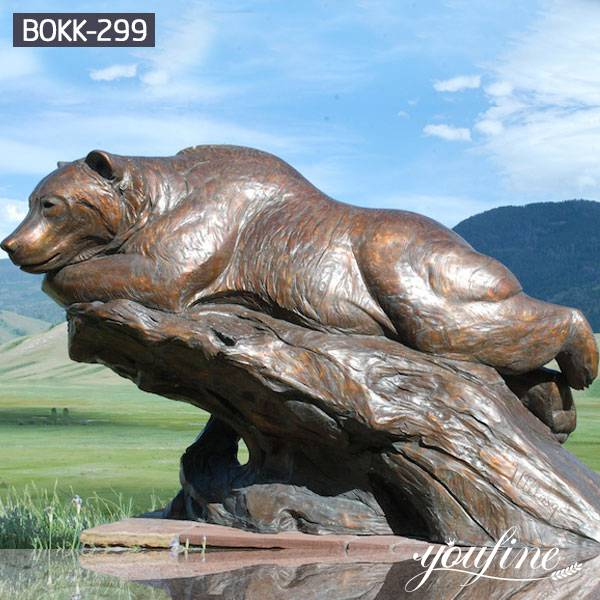 Life Size Bronze Lying Bear Statue Garden for Sale BOKK-299