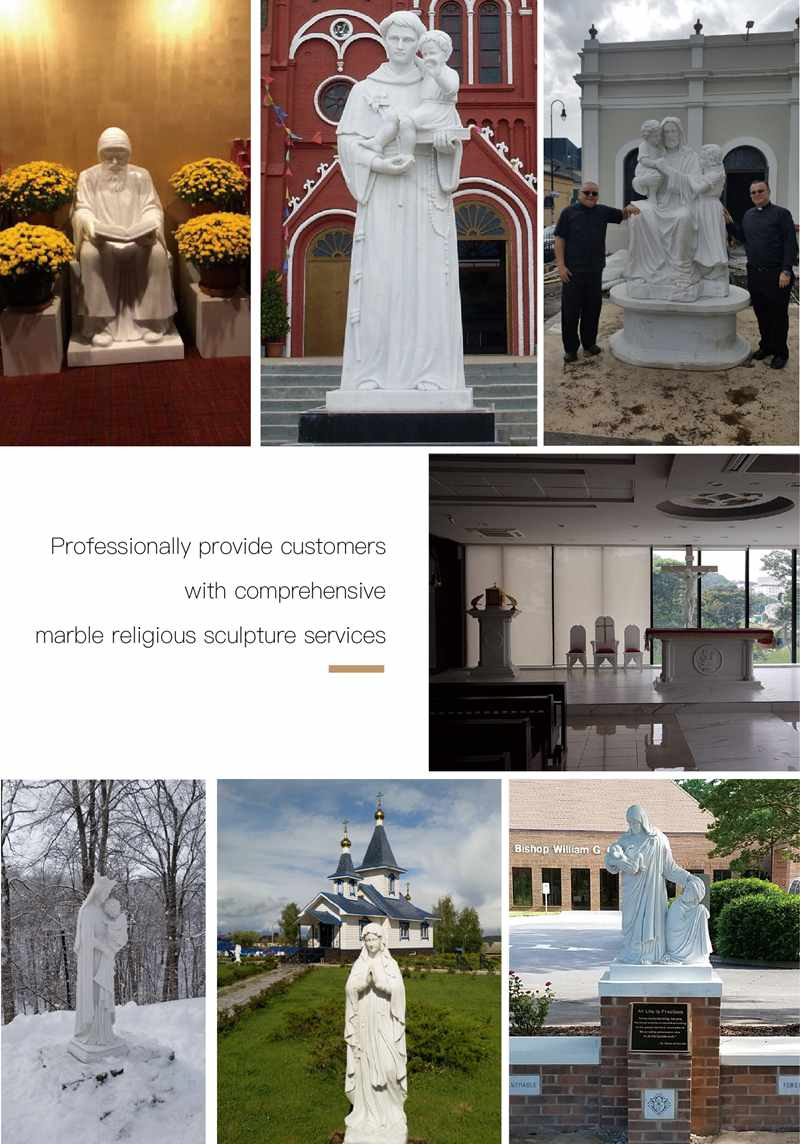 Catholic Life Size St. Joseph Marble Statue Church Garden Decor