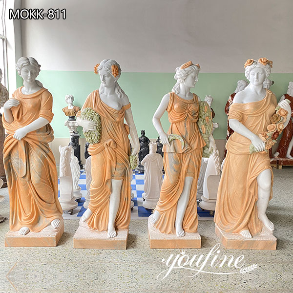 Cream Color Four Seasons Marble Statue for Garden for Sale