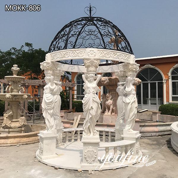 Garden Female Pillars Marble Gazebo for Sale