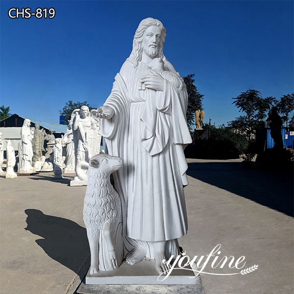Hand Carved Life Size Jesus and Lamb Marble Statue for Sale CHS-819