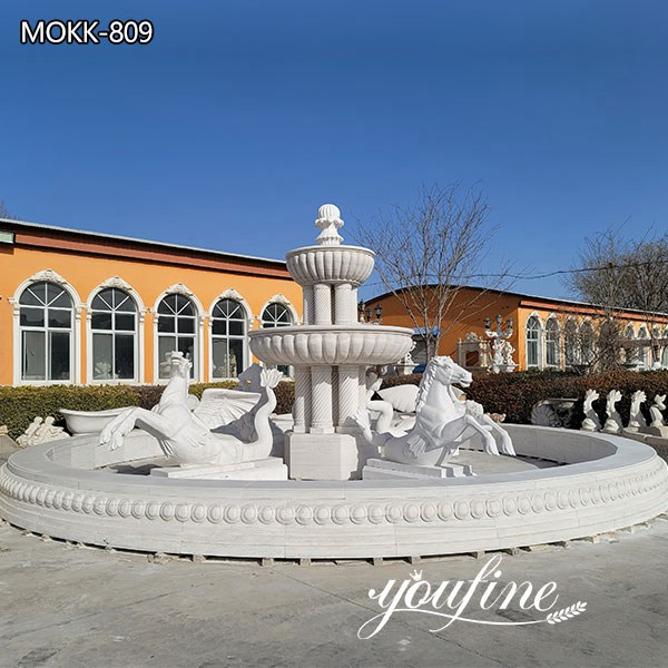 White Marble Large Outdoor Horse Fountain for Sale MOKK-809