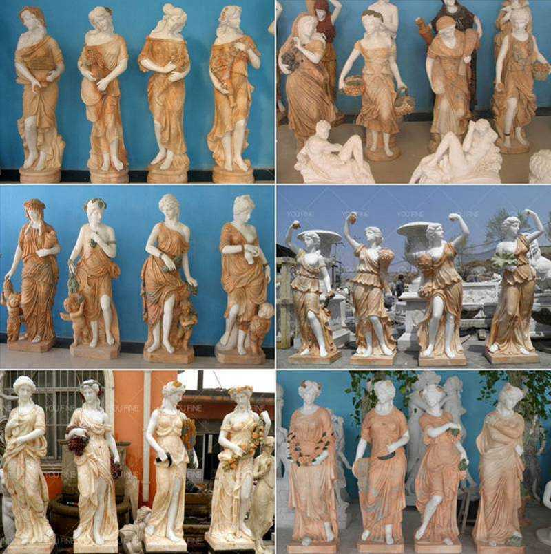 Life Size Four Seasons Marble Statues for Garden