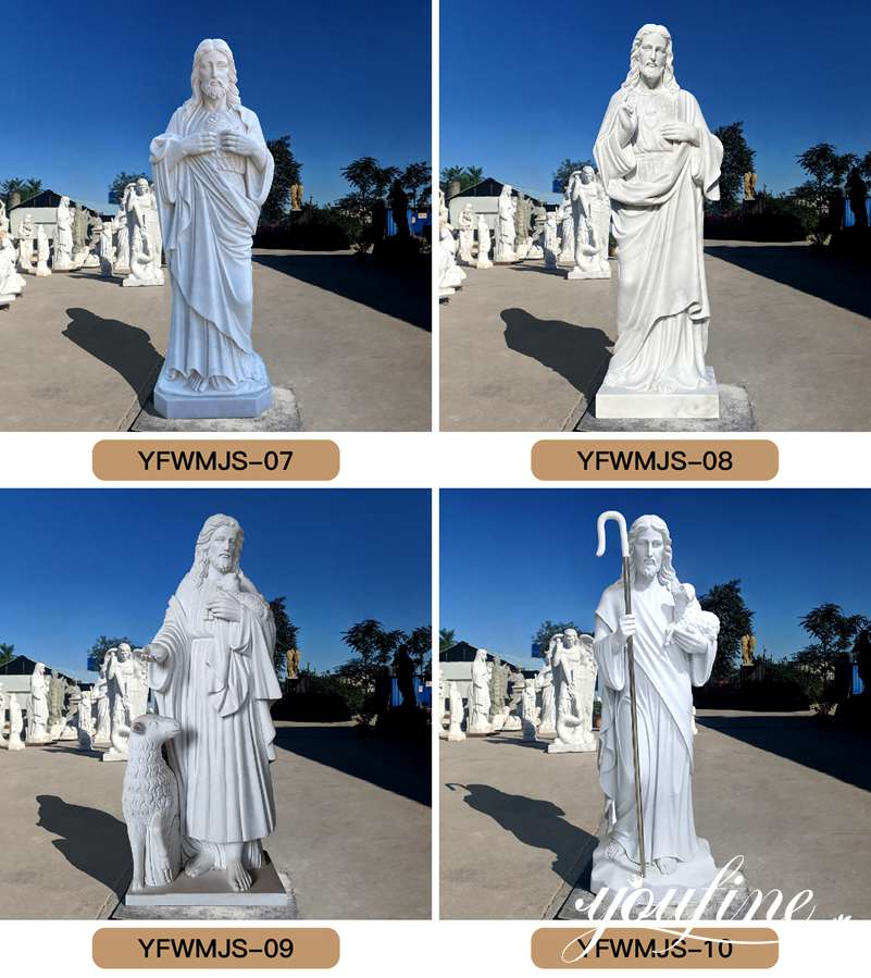 Life Size Jesus and Lamb Marble Statue for Sale
