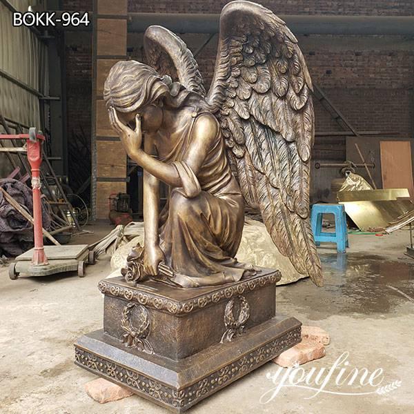 Life Size Kneeling Angel Bronze Statue for Sale