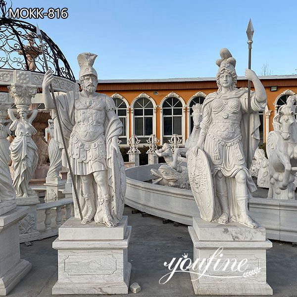 Life Size White Marble Warrior Statue for Estate Castle Decor MOKK-816