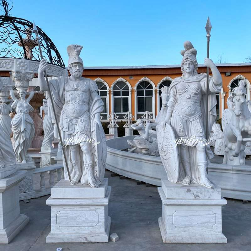Life Size White Marble Warrior Statue for Estate Castle Decor