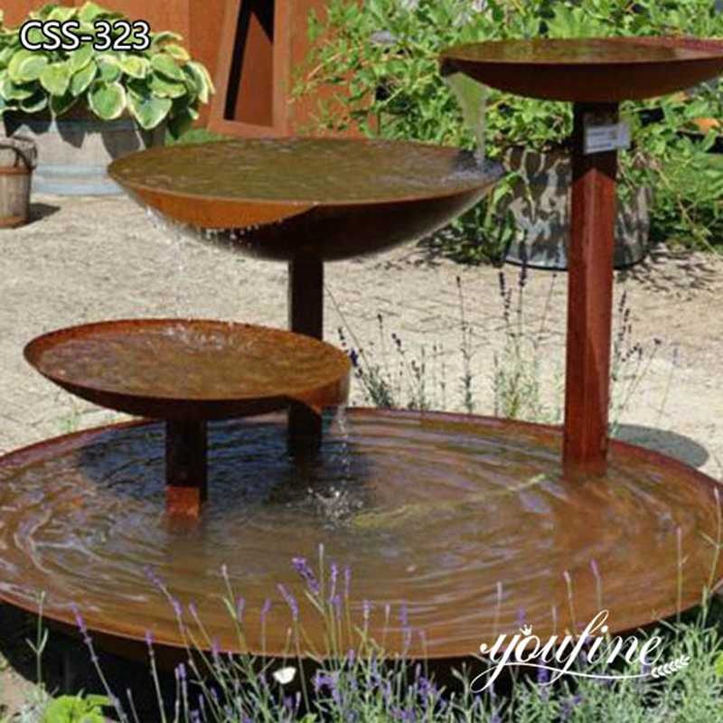 Outdoor Corten Steel Water Fountain for Garden for Sale CSS-323