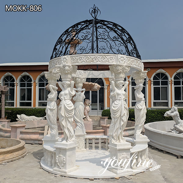 Outdoor Garden Female Pillars Marble Gazebo for Sale