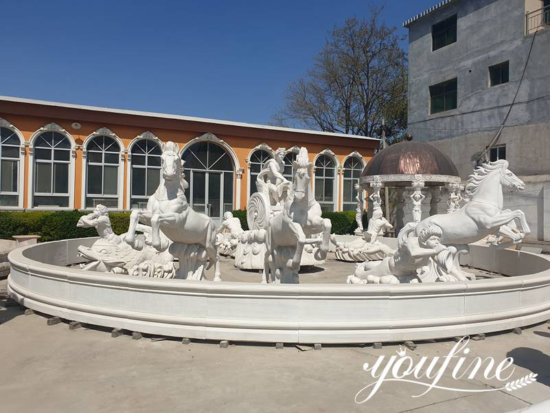 Outdoor Large Marble Fountain of Apollo and Rearing Horse Statue for Sale