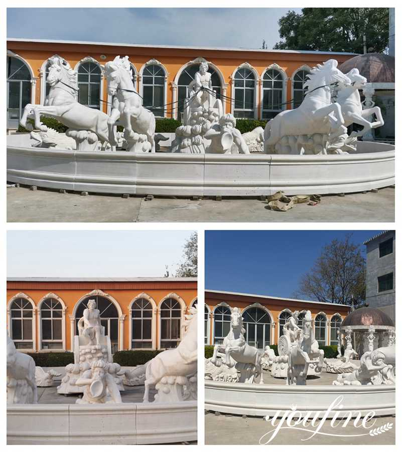 Outdoor Large Marble Fountain of Apollo and Rearing Horse Statue