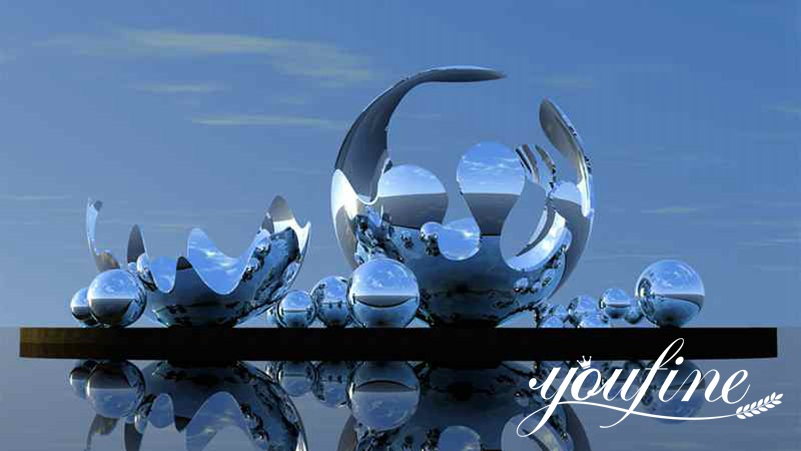 Outdoor Plaza Spherical Mirror Stainless Steel Sculpture for Sale