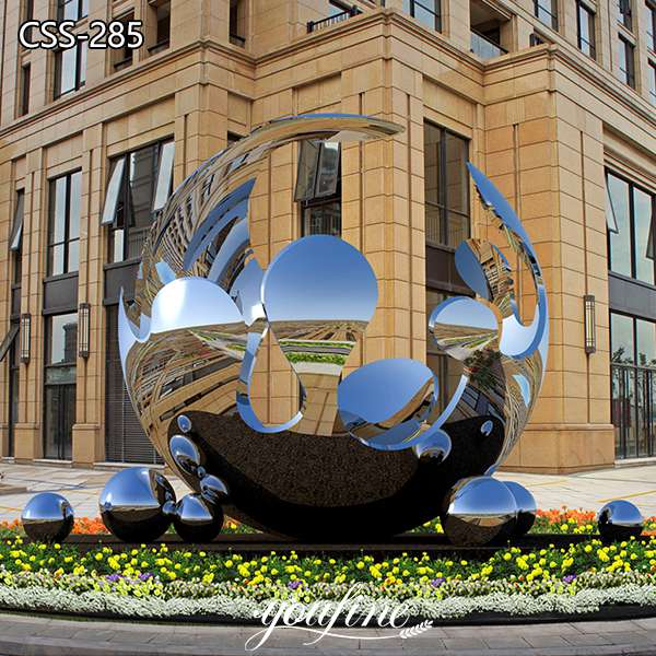 Outdoor Plaza Spherical Mirror Stainless Steel Sculpture for Sale CSS-285