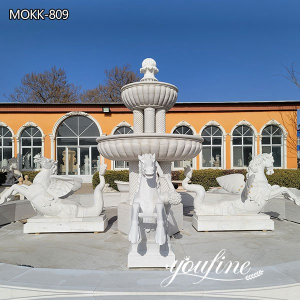 White Marble Large Outdoor Horse Fountain