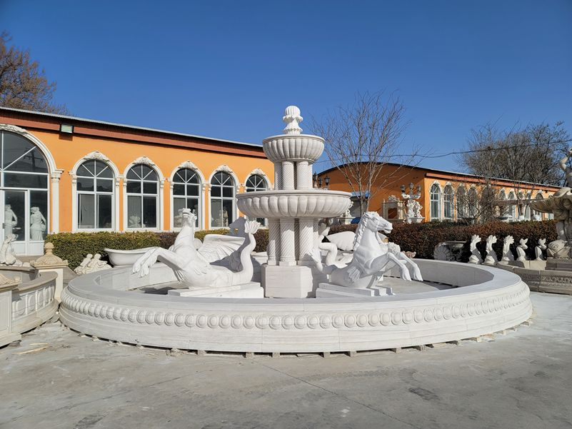 White Marble Large Outdoor Horse Fountain for Sale